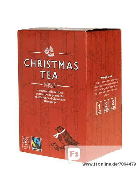 Mandatory Credit: Photo by Martin Lee / Rex Features (1896753bx) Box of Marks and Spencer Christmas Tea Bags Various