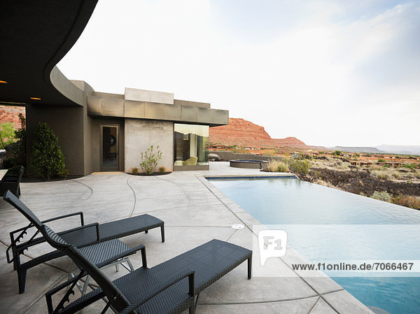 Modern luxury home facing swimming pool