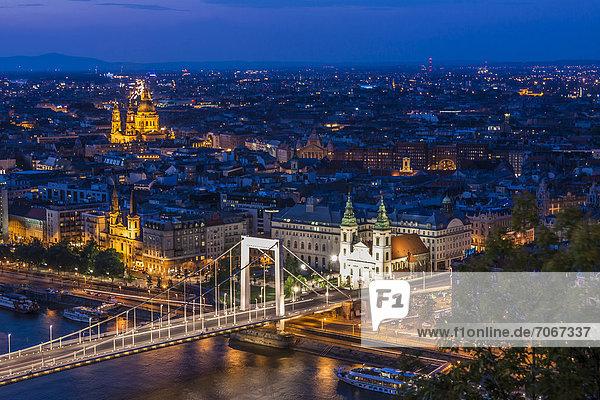Aussicht von der Zitadelle auf die Stadt  Stadteil Pest  Elisabethbrücke  Blaue Stunde  Budapest  Ungarn  Europa