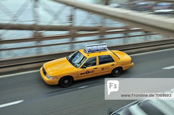 Taxi on the Brooklyn Bridge  Manhattan  New York City  USA  North America  PublicGround