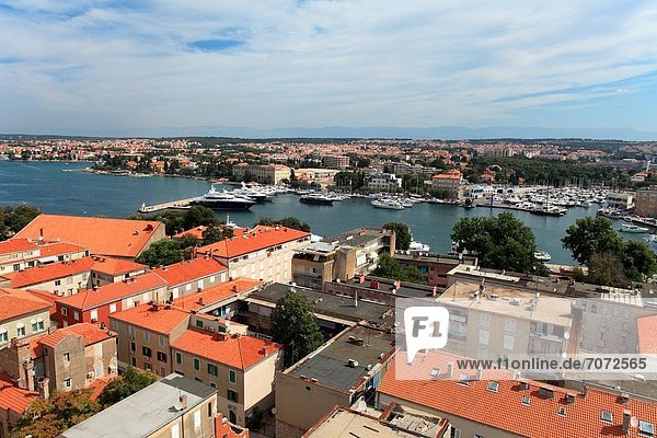 View of Zadar from the bell tower of St Anastasia cathedral  Croatia