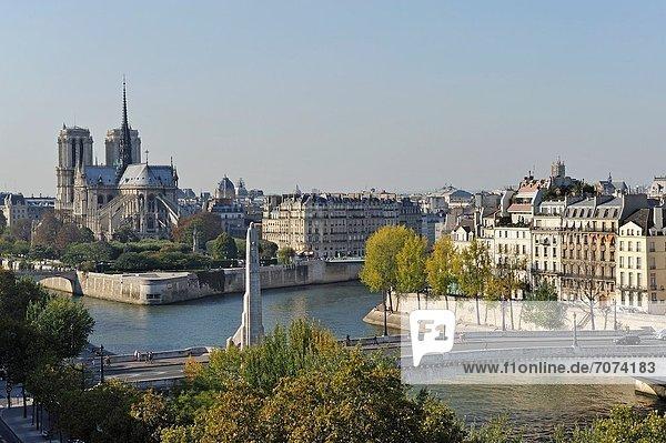 Paris Hauptstadt Frankreich Europa hoch oben Fluss Heiligtum Insel Seine Draufsicht