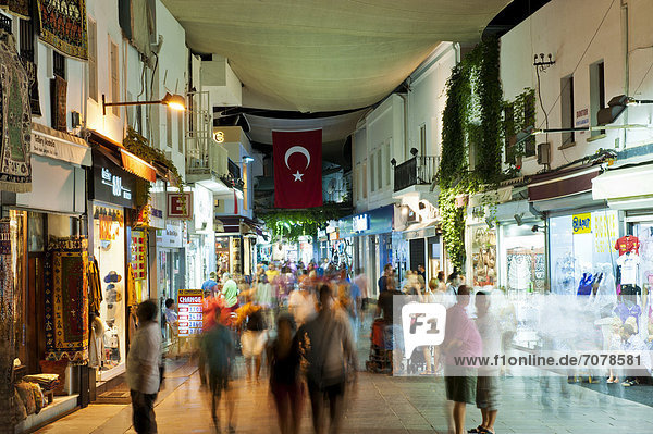 Passage in the centre of Bodrum at night  Mugla Province  Turkish Aegean  Turkey