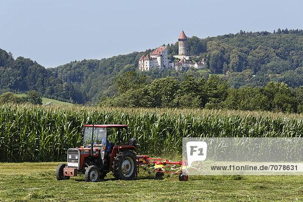 Traktor mit Heuwender vor Burg Clam  Klam  M¸hlviertel  Oberösterreich  Österreich  Europa  ÖffentlicherGrund