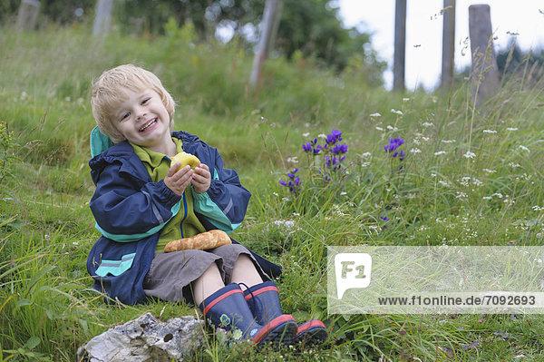 Boy sitting in meadow  smiling  portrait