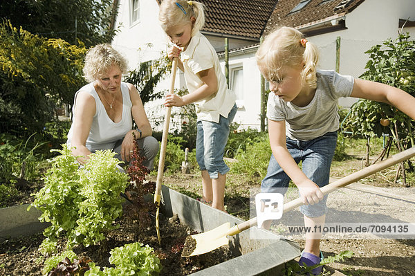 Germany  Bavaria  Grandmother with children working in vegetable garden
