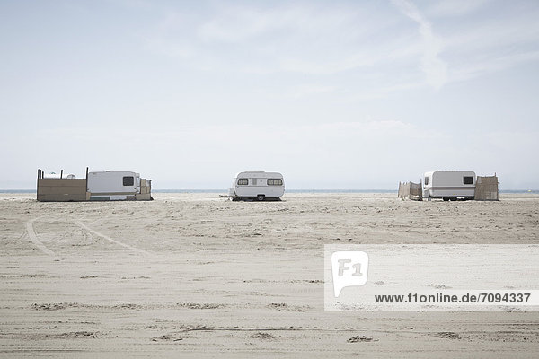 Southern France  View of camping trailers on beach at Camargue