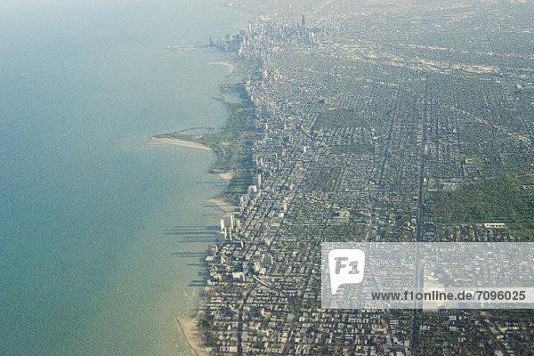 Amerikanische Stadt vom Flugzeug aus gesehen  Chicago