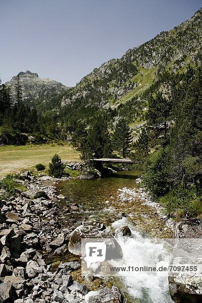 Brücke über Wildbach  Landschaft in den Pyrenäen  französische Pyrenäen  Nationalpark bei ArgelËs-Gazost  Region Midi-PyrÈnÈes  DÈpartement Hautes-PyrÈnÈes  Frankreich  Europa