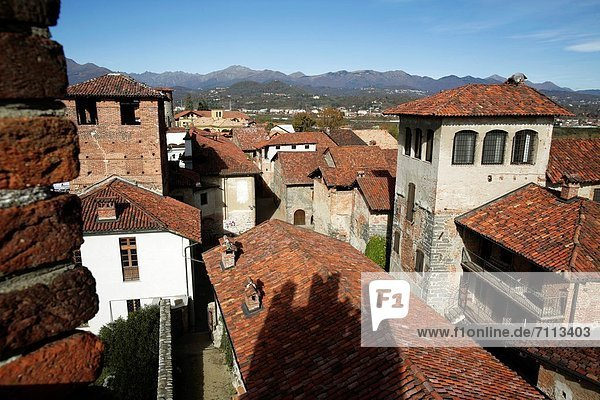 Rooftop of Candelo Village  Piedmont  Italy