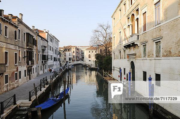 Houses on the canal  Castello quarter  Venice  Venezia  Veneto  Italy  Europe