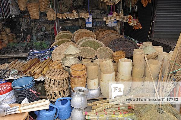 Blumenmarkt Reis Reiskorn Südostasien Asien Laos Markt gedämpft