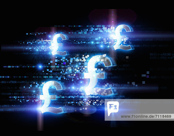 Hell illuminierte Britisch-Pfund-Zeichen und Punkte auf schwarzem Hintergrund