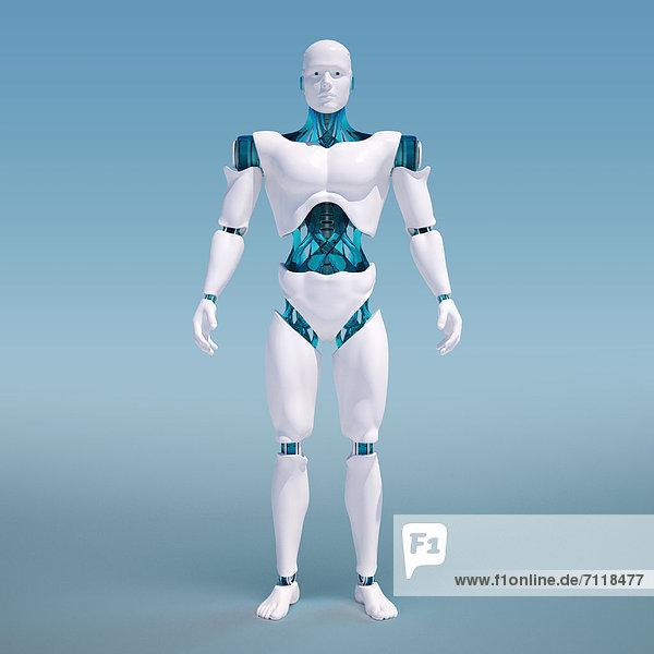 Portrait eines weißen Roboters vor einem blauen Hintergrund