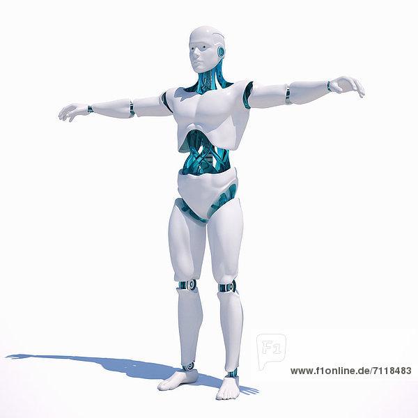 Weißer Roboter mit ausgestreckten Armen steht vor weißem Hintergrund