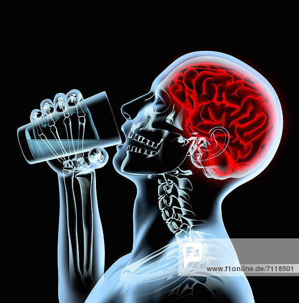 Röntgenaufnahme eines Mannes mit rotem Gehirn der aus einem Glas trinkt