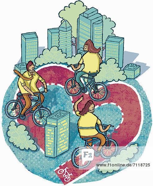 Leute fahren auf einem Weg in Herzform durch die Stadt