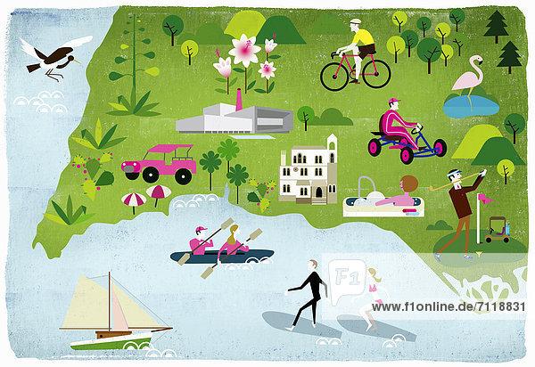 Montage von Leuten die sommerliche Freizeitaktivitäten genießen Montage von Leuten die sommerliche Freizeitaktivitäten genießen