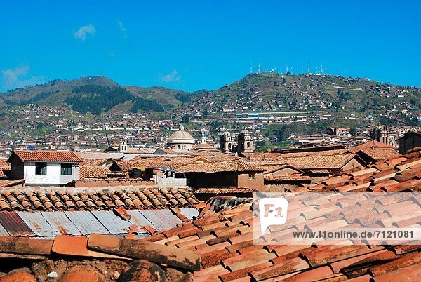 View of the colonial rooftops. Cuzco  Perú.