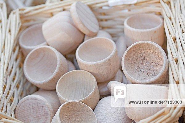 Landschaft Tasse drehen Korb Holz Handwerk Handwerkserzeugnis Kiosk Markt