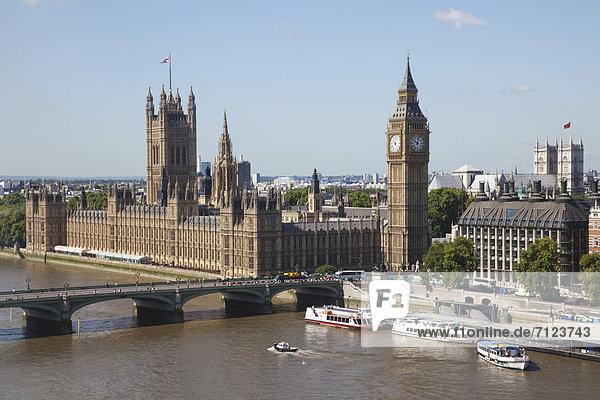 Baustelle Europa Urlaub Großbritannien London Hauptstadt Reise Fluss Themse Parlamentsgebäude Westminster Abbey Westminster Sehenswürdigkeit UNESCO-Welterbe Big Ben England Houses of Parliament Tourismus Palace of Westminster