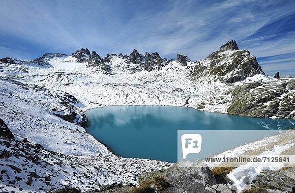 Europa Berg Steilküste See Schnee Schweiz