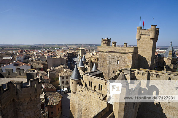 Spain  Europe  Navarra  Olite  architecture  castle  fortress  french  influence  history  kingdom  roof  roofs  santiago trail  tower  town  trail