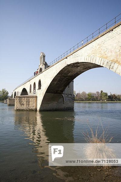 Frankreich  Europa  Brücke  fließen  Fluss  Provence - Alpes-Cote d Azur  Avignon  Rhone Frankreich ,Europa ,Brücke ,fließen ,Fluss ,Provence - Alpes-Cote d Azur ,Avignon ,Rhone
