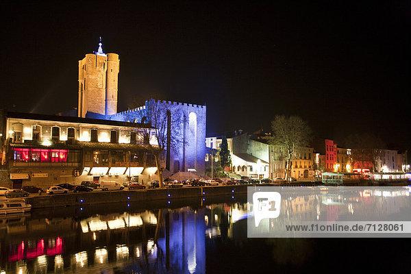 Wasser  Hafen  Frankreich  Europa  Nacht  Stadt  Großstadt  Herault