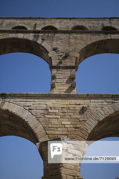 Detail  Details  Ausschnitt  Ausschnitte  bauen  Frankreich  Europa  Gebäude  Brücke  Kurve  Aquädukt  Gard  Pont du Gard