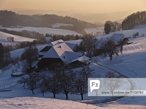 Farmhouse  farm  Emmental  house  home  Heimismatt  Heimiswil  court  yard  canton Bern  scenery  Switzerland  winter