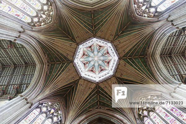Europa  britisch  Großbritannien  Grafik  Innenaufnahme  Kathedrale  Cambridgeshire  England  Achteck