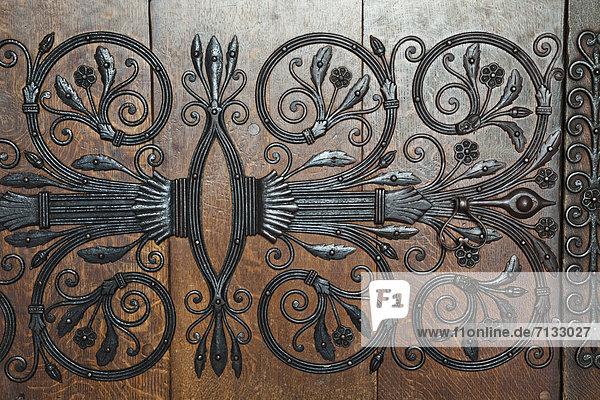 Europa  britisch  Eingang  Großbritannien  Tür  Innenaufnahme  Kathedrale  Cambridgeshire  England  Eisen