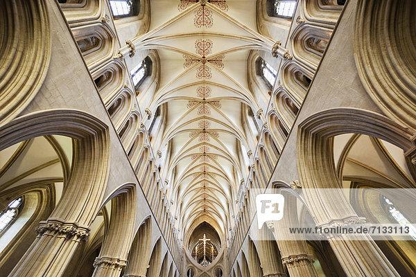 Europa  britisch  Großbritannien  Innenaufnahme  Kathedrale  England  Somerset