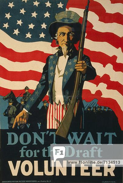Fahne  Poster  amerikanisch  Heer  Bewerbung  Gewehr  Uncle Sam  Freiwilliger