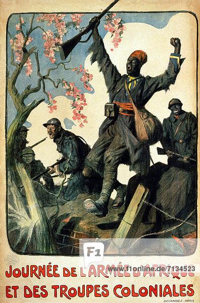 Frankreich  französisch  Kampf  Werbung  Soldat  schwarz  Poster  Afrika