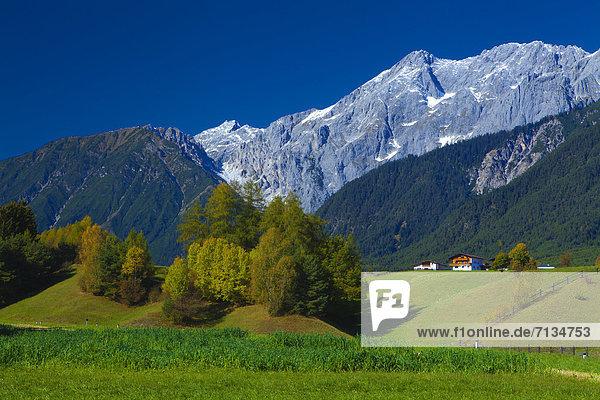 Farbaufnahme Farbe Europa Berg Urlaub ruhen Wohnhaus Reise Ruhe Baum Himmel Gebäude Stille Herbst Wiese Hochebene Tirol Österreich Rest Überrest Wildermieming