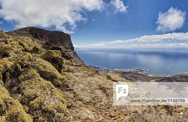 Spain  Lanzarote  Las Rositas  View  mountains  Playa del Risco  landscape  water  summer  mountains  sea  Canary Islands