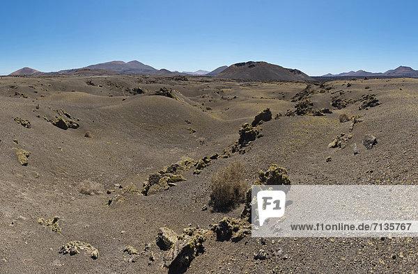 Spain  Lanzarote  Vegas de Tegoyo  Montana Cuervo  landscape  summer  mountains  hills  Canary Islands