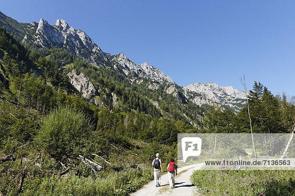 Wanderndes Paar  Sengsengebirge im Nationalpark Kalkalpen  Region Pyhrn-Eisenwurzen  Traunviertel  Oberösterreich  Österreich  Europa