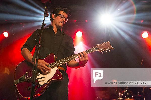 Nico Feer  guitarist of the Swiss band Baby Jail playing live at the Schueuer  Luzern  Switzerland  Europe