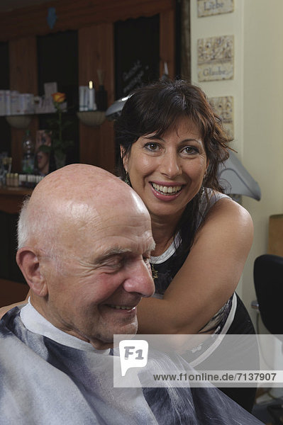 Elderly man at a hairdresser's  hair cutting  Baden-Wuerttemberg  Germany  Europe