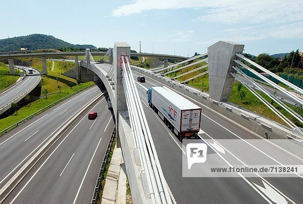 Car and truck traffic on the motorway  Gipuzkoa  Basque Country  Spain