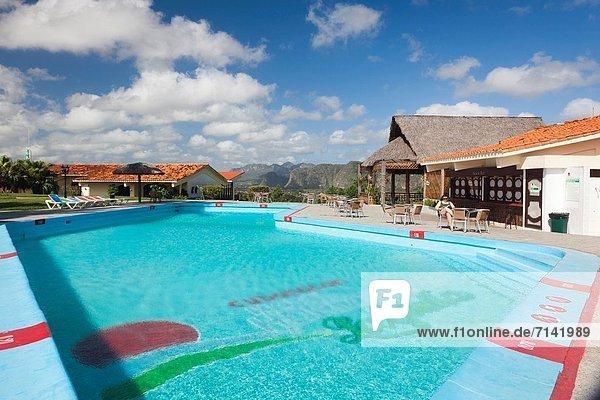 Cuba  Pinar del Rio Province  Vinales  Vinales Valley  Hotel La Ermita  swimming pool