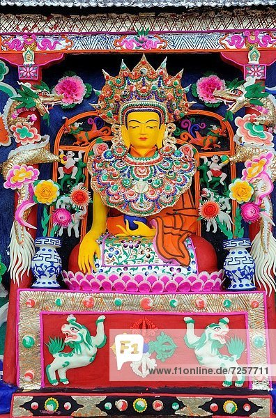China  Gansu  Amdo  Xiahe  Monastery of Labrang Labuleng Si  Losar New Year festival  Exhibition of the Yak butter sculptures made by the monks