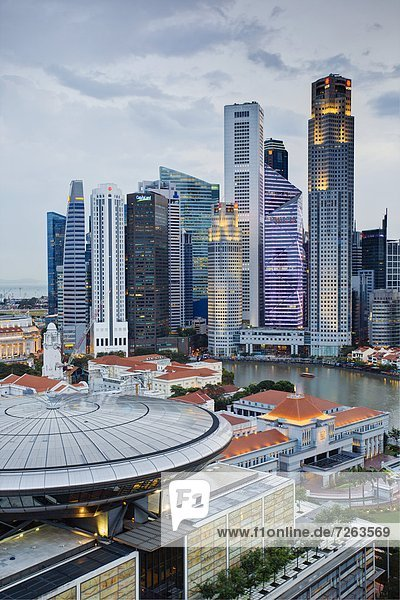 Skyline and Financial district at dawn  Singapore  Southeast Asia  Asia