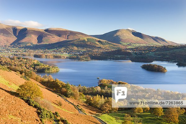 Derwent Water  Skiddaw and Blencathra from the slopes of Catbells  Lake District National Park  Cumbria  England  United Kingdom  Europe