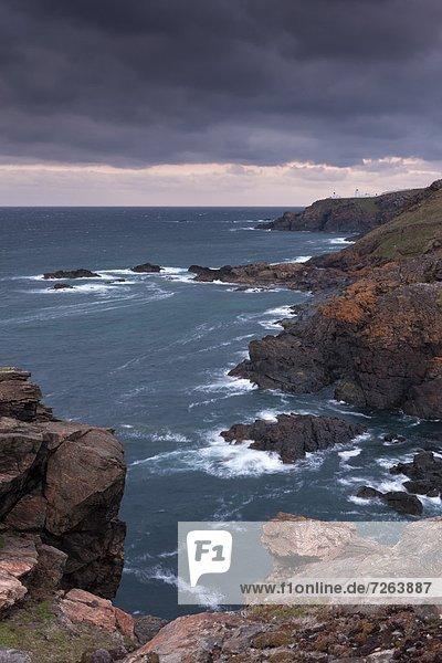 Europa  sehen  Großbritannien  Küste  Leuchtturm  Cornwall  England