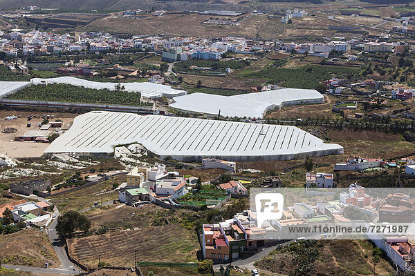 View of Gardoenes with farm buildings  Gran Canaria  Canary Islands  Spain  Europe  PublicGround