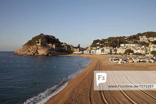 Europa Strand Ansicht Katalonien Costa Brava Spanien Tossa de Mar Villa
